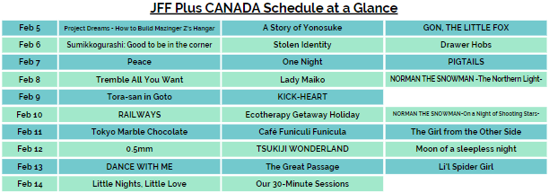 Click for PDF of JFF Plus Canada Schedule at a Glance